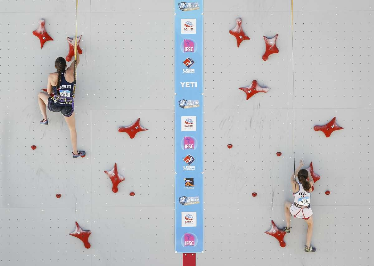 Kyra Condie of the United States, left, competes alongside Laura Rogora of Italy during the speed climbing qualifications of the IFSC Climbing World Cup at Industry SLC on May 28, 2021 in Salt Lake City, Utah. (Photo by Andy Bao/Getty Images)
