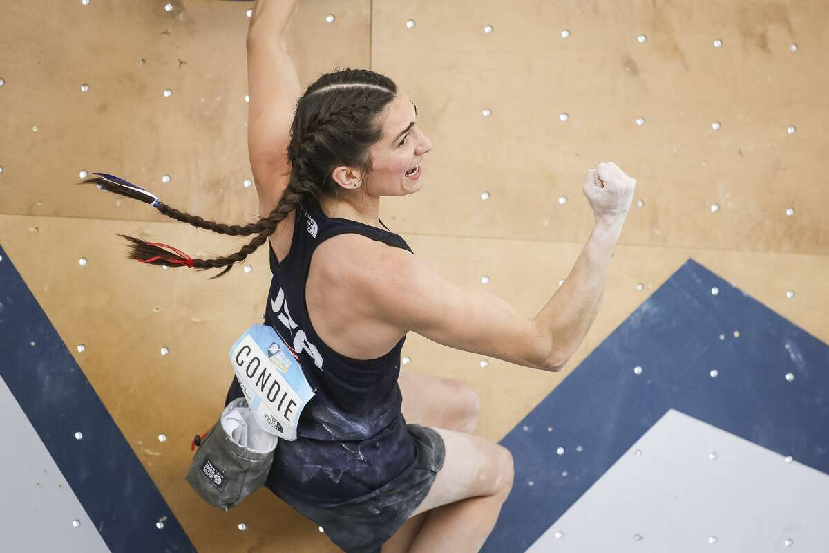 Kyra Condie of United States celebrates during the semi-finals of the IFSC Climbing World Cup at Industry SLC on May 30, 2021 in Salt Lake City, Utah. (Photo by Andy Bao/Getty Images)