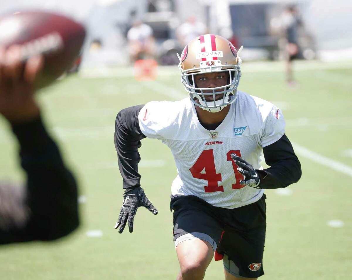 49ers cornerback Ambry Thomas (41) practices at 49ers headquarters on Wednesday, June 2, 2021 in Santa Clara, Calif.