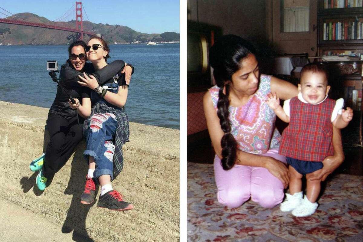 Left: Kamala Harris with stepdaughter Ella in San Francisco. Right: Shyamala Gopalan Harris holds daughter Kamala.