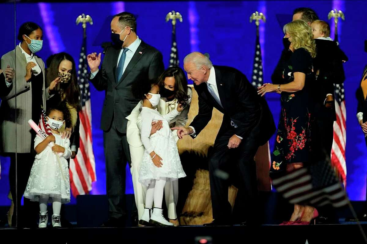 President-elect Joe Biden and Vice President-elect Kamala Harris mingle with family members in Wilmington, Del., after winning the November election.