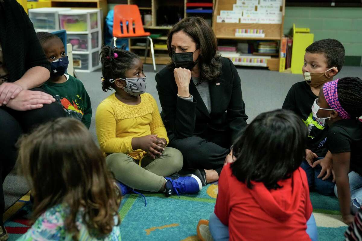 Vice President Kamala Harris visits with preschool students in West Haven (Conn.) in March.