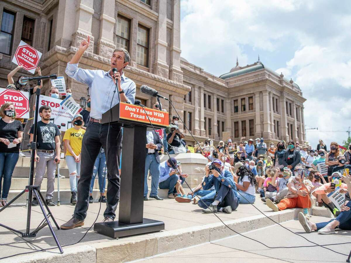 Former US Representative from El Paso Beto O?•Rourke, speaks from the podium during a voting rights rally at the Texas State Capitol in Austin, Tx., U.S. on Saturday, May 8, 2021. The rally was held in response to a number of bills making their way through the Texas Legislature that critics say would restrict voting access for Texans across the state by shutting down polling places and creating barriers to voting for historically marginalized communities.