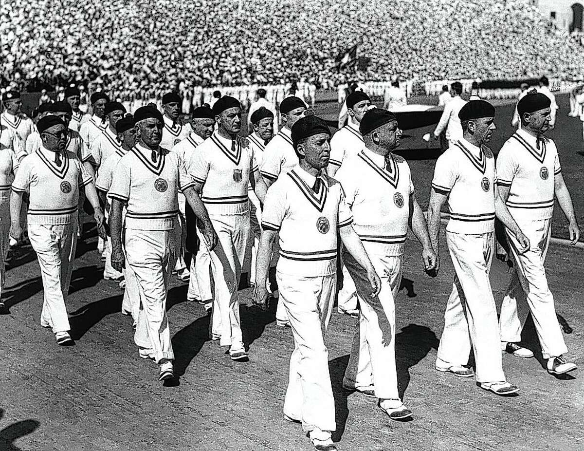 The U.S. Olympic team marches in berets during the opening ceremony of the 1932 Summer Olympics on July 30, 1932, in Los Angeles.
