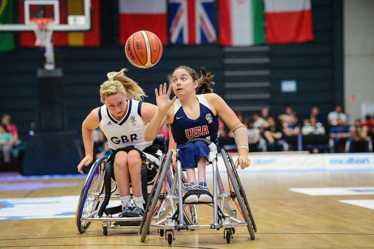 Jersey Village High School 2012 graduate Kaitlyn Eaton, right, will represent the United States in the Paralympics Games in women's wheelchair basketball. Team USA earned their Paralympic Games berth with a top-two finish at the 2019 Parapan American Games.
