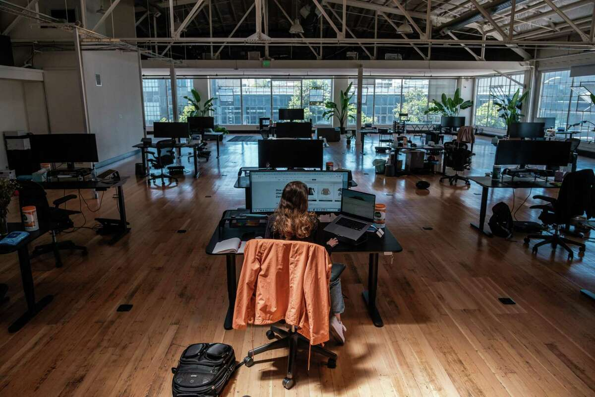 Sarah Richard works at the Fast office in San Francisco. Vaccinated employees have been invited back, but few are taking advantage of the opportunity.