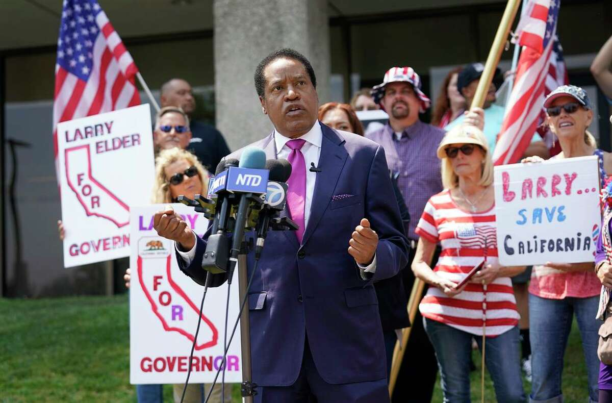 Radio talk show host and Republican gubernatorial hopeful Larry Elder speaks to supporters this month in Norwalk (Los Angeles County).
