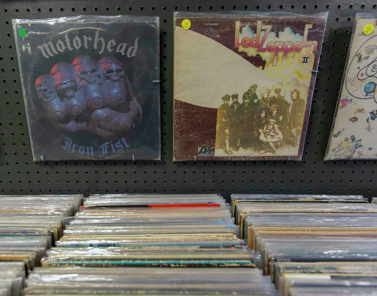 Some of Steve Anderson's records from his Stevie Ray Vinyl record store in Bandera . The vast majority of Anderson's collection is listed for sale online but he maintains about 5,000 records for sale at The Shops of Bandera.