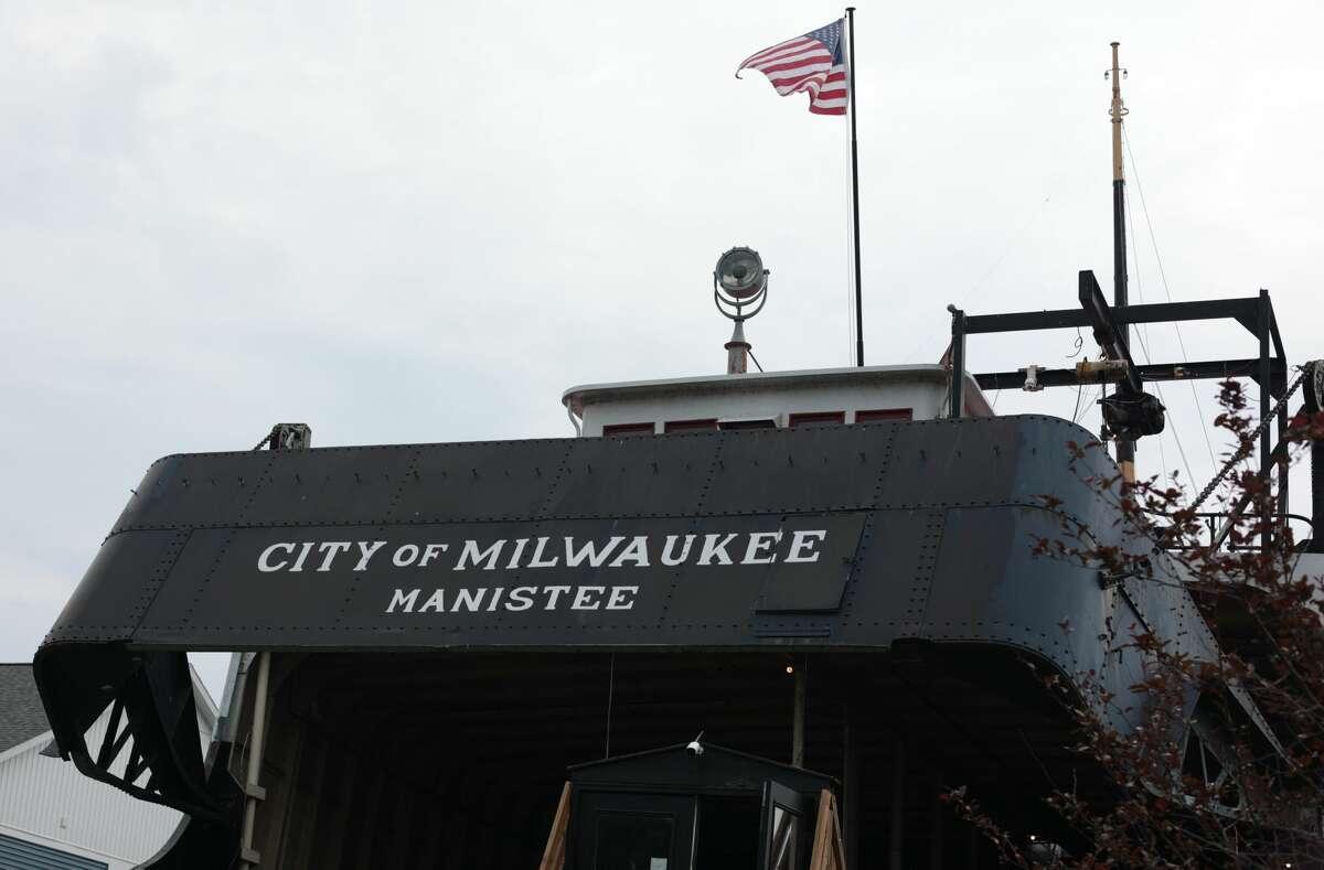 The historic vessel is docked on Arthur Street (U.S. 31) in Manistee Lake