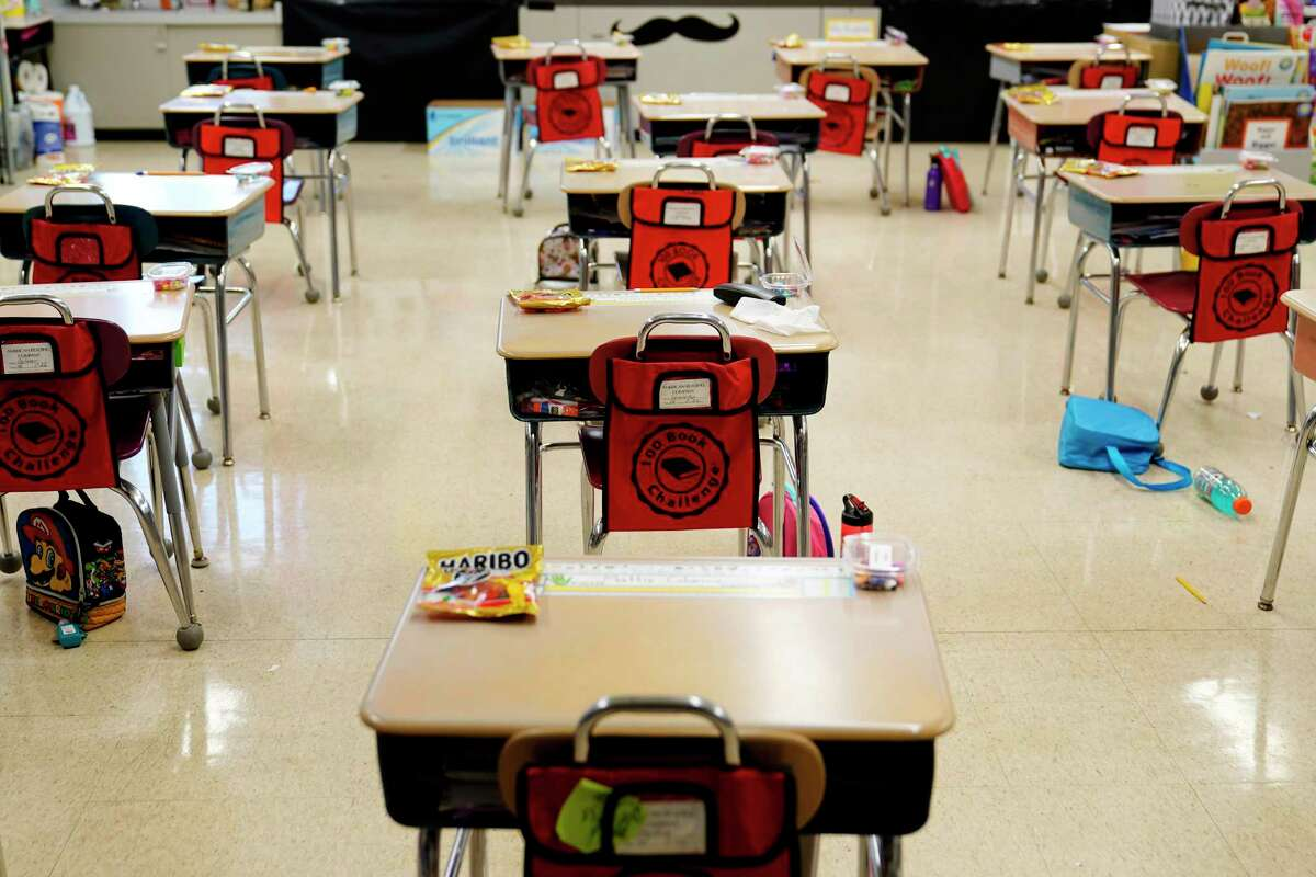 Desks are arranged in a classroom at an elementary school in Nesquehoning, Pa.