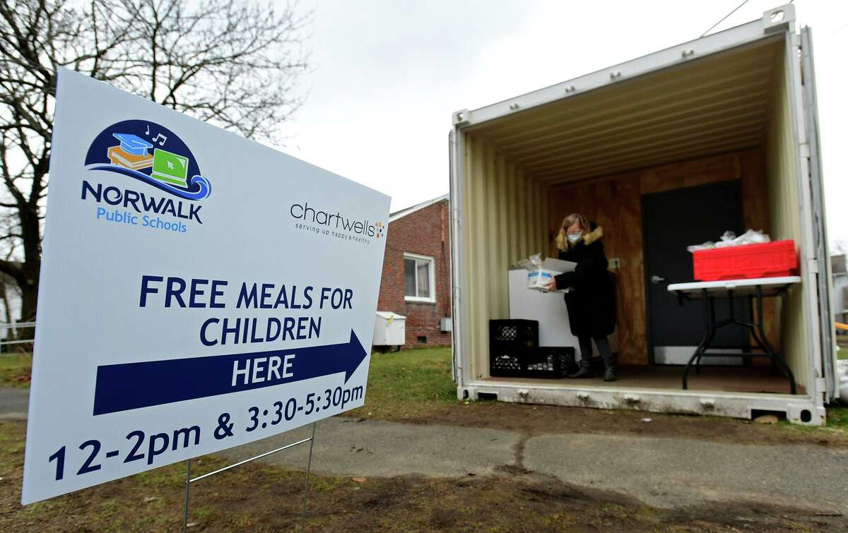 The Norwalk Public Schools meal distribution site at Colonial Village Tuesday, January 19, 2021, in Norwalk, Conn.