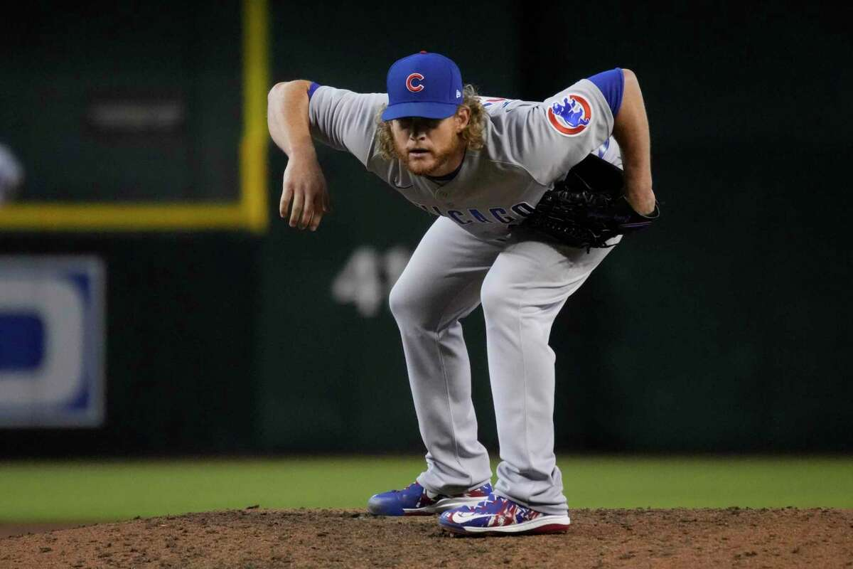 Chicago Cubs relief pitcher Craig Kimbrel (46) in the first inning during a baseball game against the Arizona Diamondbacks, Saturday, July 17, 2021, in Phoenix. (AP Photo/Rick Scuteri)