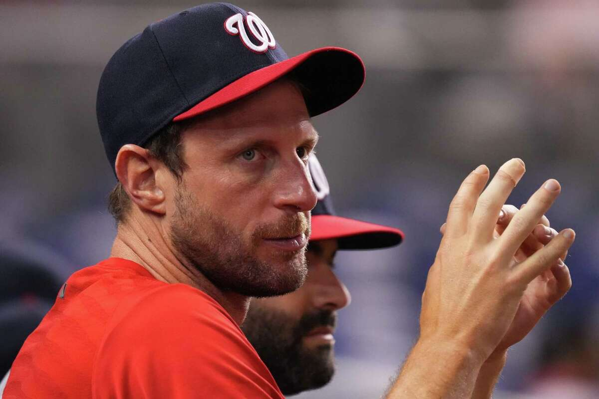 MIAMI, FLORIDA - JUNE 24: Max Scherzer #31 of the Washington Nationals looks on from the dugout in the eighth inning against the Miami Marlins at loanDepot park on June 24, 2021 in Miami, Florida. (Photo by Mark Brown/Getty Images)