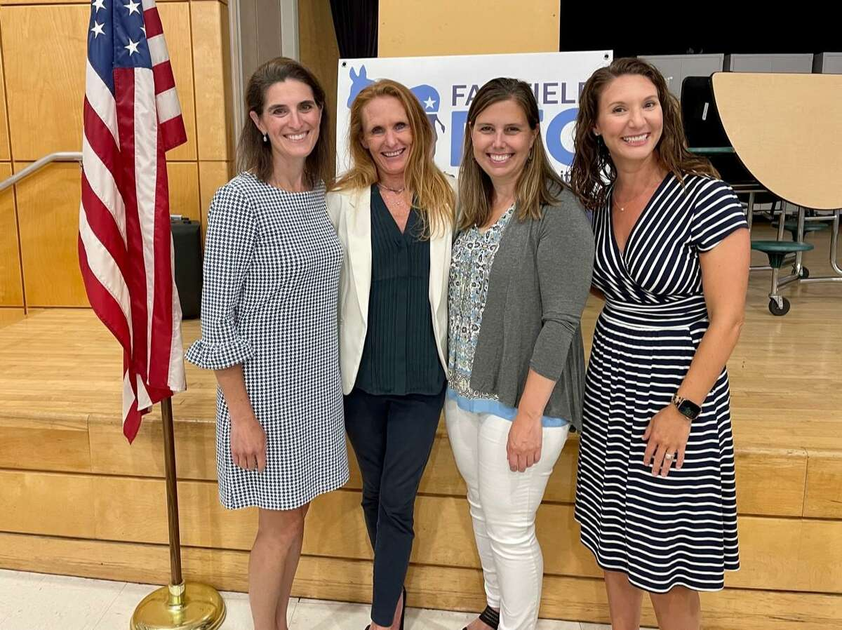 State Reps. Cristin McCarthy Vahey and Jennifer Leeper with incumbent Fairfield Board of Education candidates Jennifer Jacobsen and Carol Guernsey.