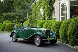 """The 1951 MG-TD convertible that will be auctioned off by Fairfield County nonprofit Family Centers ahead of its Sept. 18, 2021, """"Roaring Twenties"""" benefit, in Greenwich."""