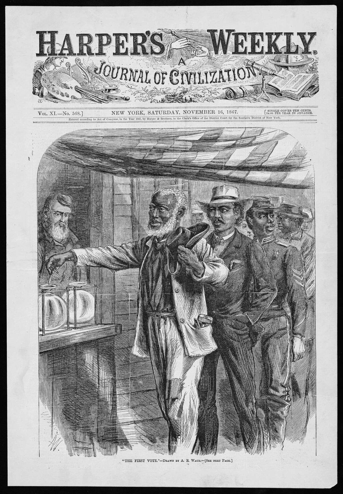 """The cover of """"Harper's Weekly"""" depicts the first Black voting. The image is part of """"Voices and Votes: Democracy in America,"""" a traveling exhibit that is part of the Smithsonian Institution's """"Museum on Main Streets"""" program."""