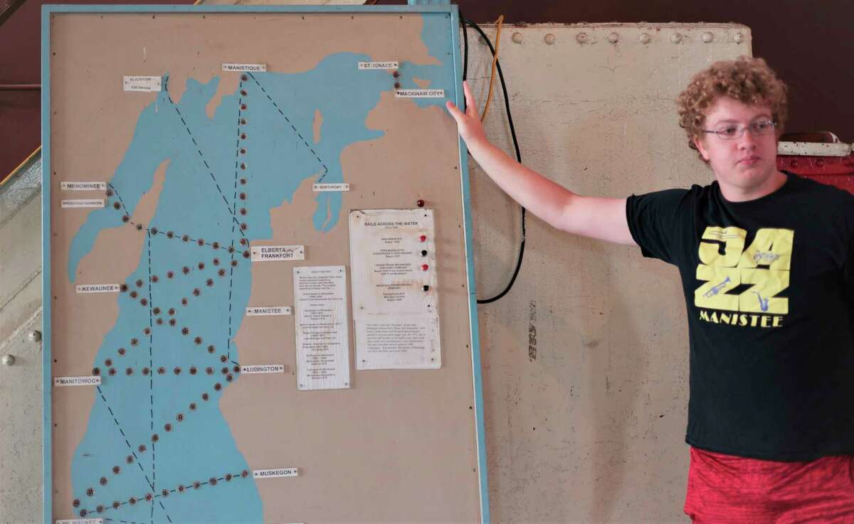 Early shipping routes are highlighted and mapped out at the SS City of Milwaukee Manistee. (Jeff Zide/News Advocate)