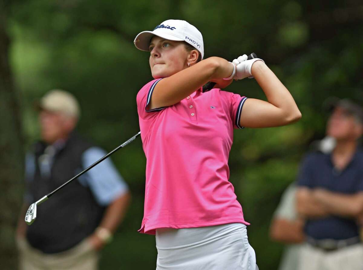 Kennedy Swedick, a 14-year-old from Altamont, drives from the third hole tee during the first round of the Symetra Tour's Twin Bridges Championship at Pinehaven Country Club on Friday July 23, 2021 in Guilderland, N.Y. (Lori Van Buren/Times Union)