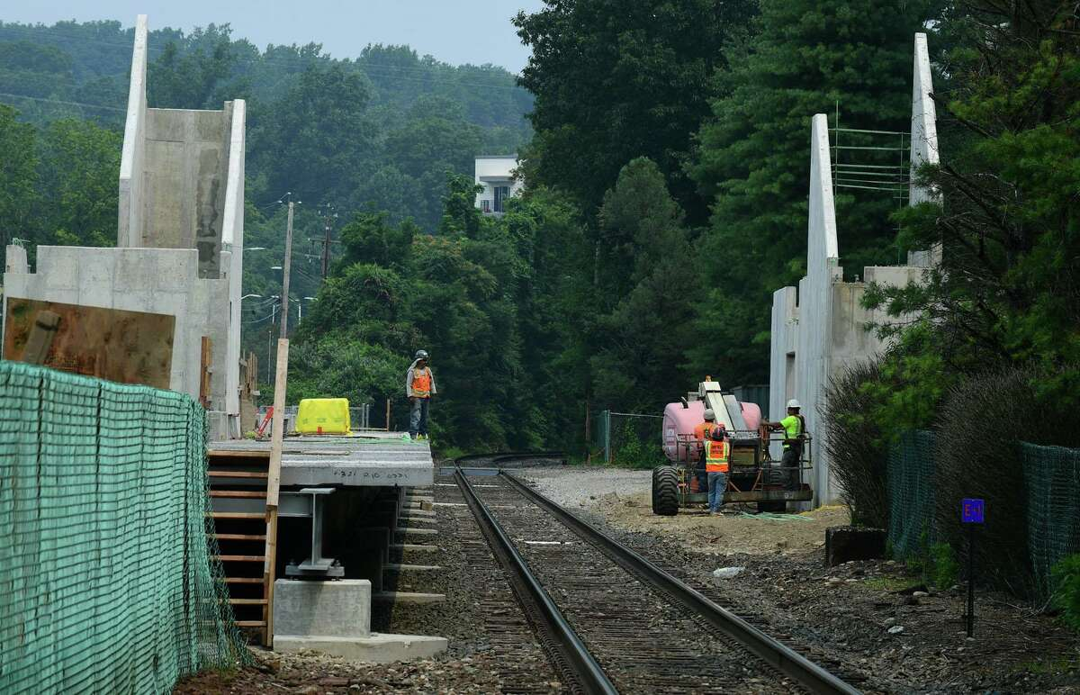 Construction continues on the new Metro North Danury Line train station on Glover Ave. Wednesday, July 21, 2021, in Norwalk, Conn.