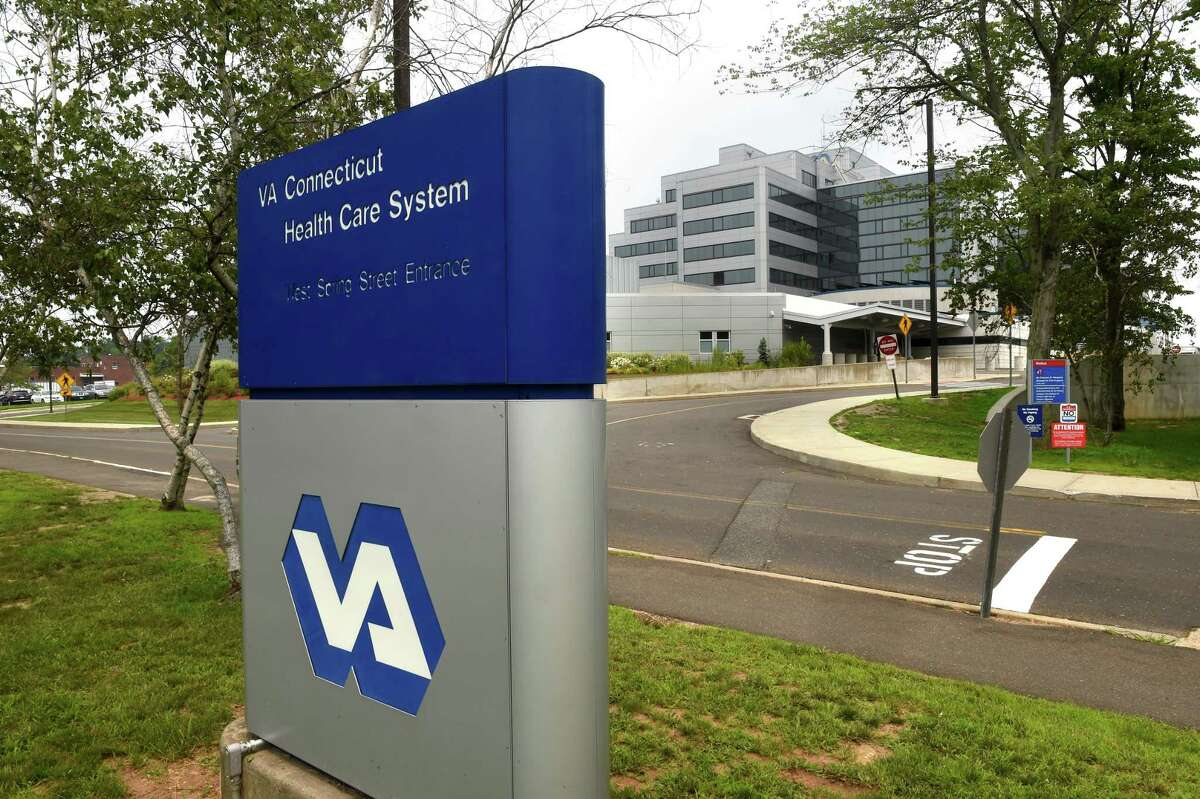 The West Spring Street entrance to the VA Connecticut Health Care System's West Haven Campus photographed on July 20, 2021.