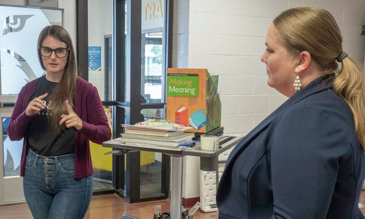 Hailey McCarthy, Executive Principal, and Bethany Solis, Executive Director of Idea Permian Basin, talk 07/23/2021 about the improvements Idea Travis has made in academics in one year's time. Tim Fischer/Reporter-Telegram