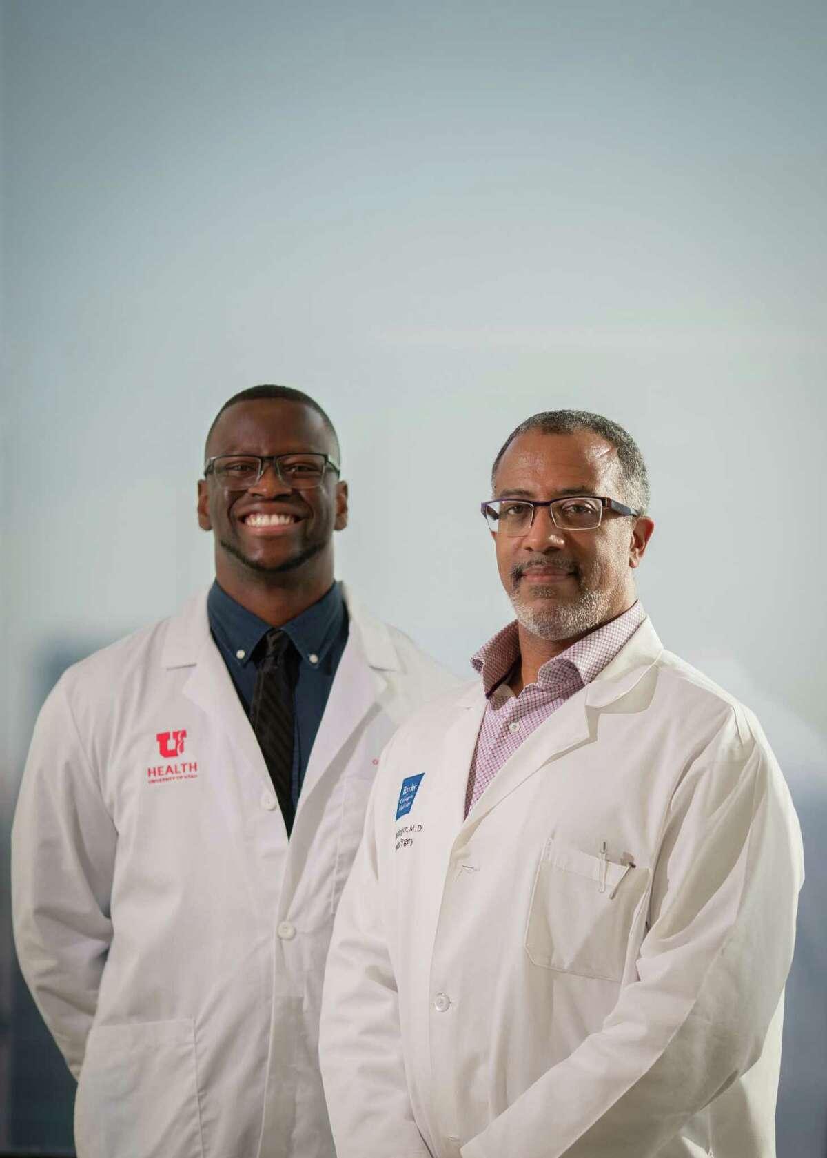 University of Utah school of medicine student and Nth Dimensions Orthopedic Summer Intern Olaoluwa Omotowa and Baylor Medicine orthopedics surgeon Melvyn Harrington at the Baylor College of Medicine, Friday, July 16, 2021, in Houston.