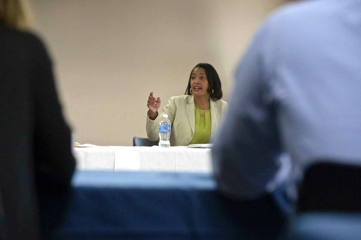 U.S. Representative Jahana Hayes hosted students and members of the Western Connecticut State University administration, with Lt. Governor Susan Bysiewicz, for a roundtable discussion on student vaccinations on the WCSU midtown campus. Friday, July 23, 2021, in Danbury, Conn.