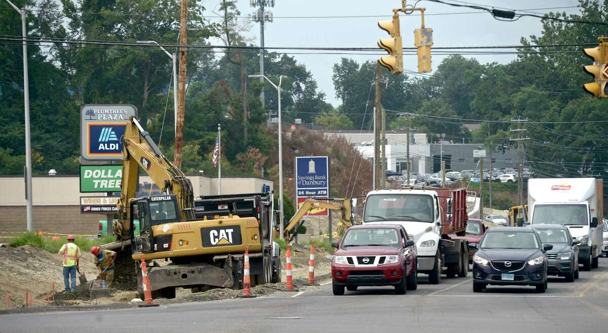 Connecticut DOT is widening Newtown Road, in Danbury, Conn, just south of the Berkshire and Stop & Shop shopping plaza's. Wednesday, July 21, 2021.
