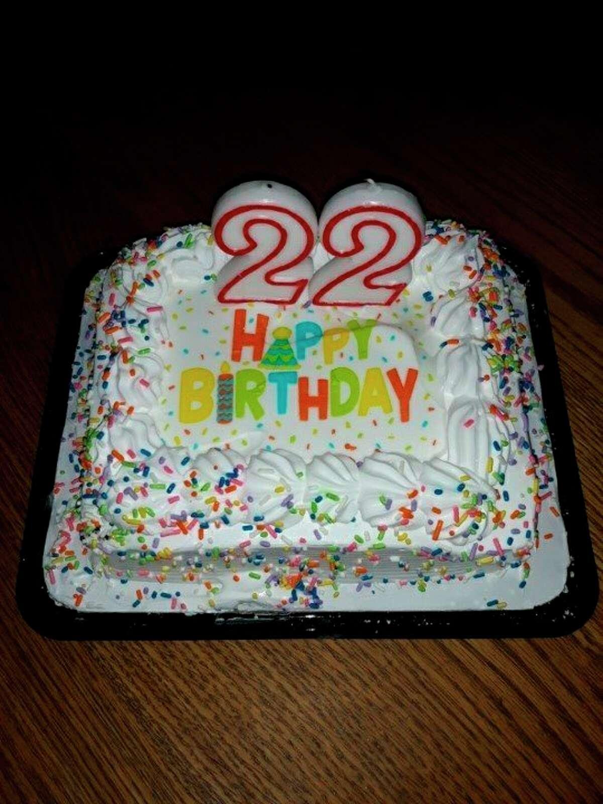 A festive cake to celebrate Lovina's son Benjamin turning 22 on July 14. (Courtesy photo)