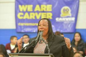 George Washington Carver Center Executive Director Novelette Peterkin speaks during the center's 80th anniversary party in 2018 in Norwalk, CT.