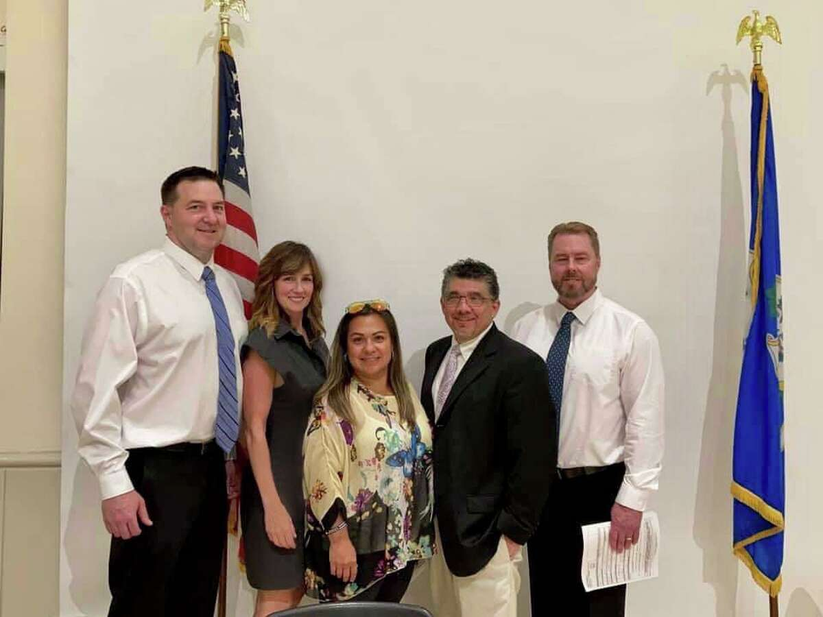 Truth In Education endorsed candidates swept Guilford's Republican caucus on Thursday night. The winners, from left, are Tim Chamberlain, Danielle Scarpellino, Alexandra Passarelli, Nick Cusano and Bill Maisano.