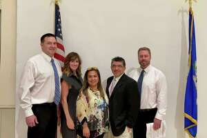 Truth In Education endorsed candidates swept Guilford's republican caucus on Thursday night. The winners, from left to right, are Tim Chamberlain, Danielle Scarpellino, Alexandra Passarelli, Nick Cusano and Bill Maisano.