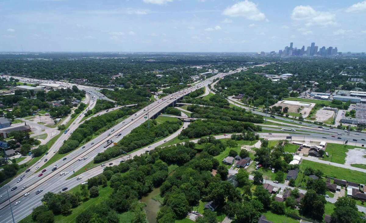Interstate 45 intersects Loop 610, near the Independence Heights neighborhood, seen on July 5, 2019, in Houston.