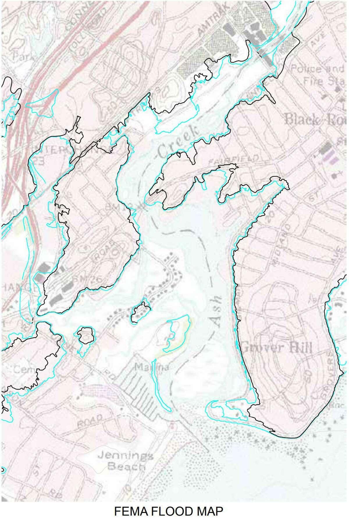 A Federal Emergency Management Agency flood map for Ash Creek.