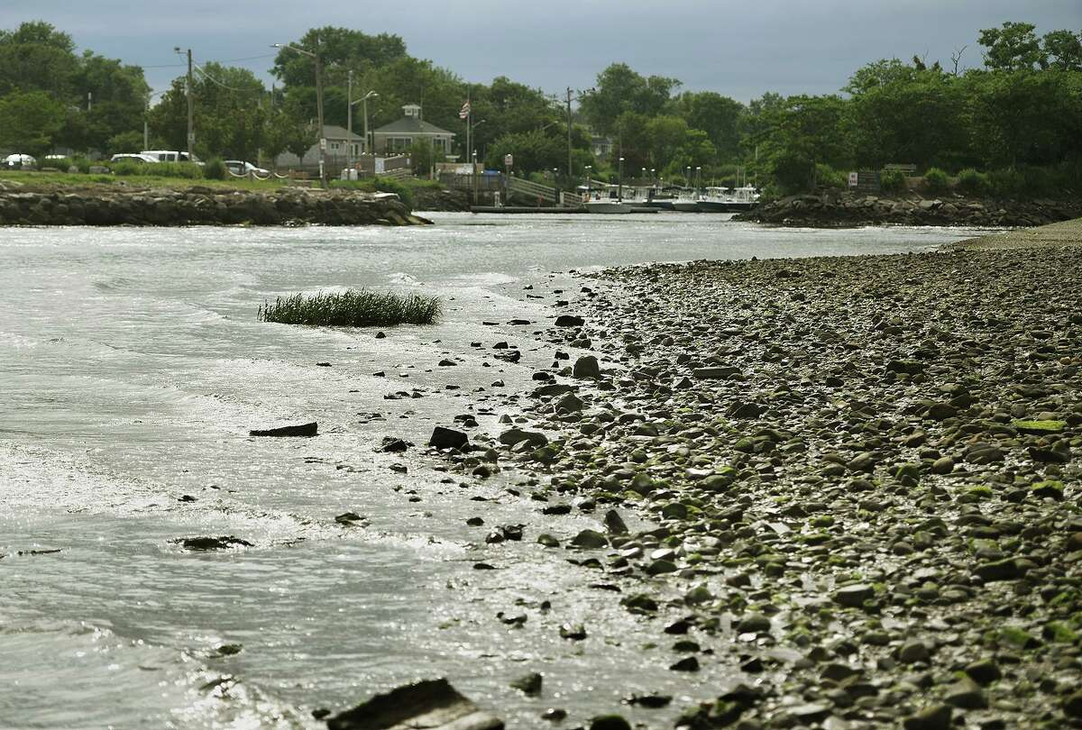 The spit of land that reaches out from St. Mary's by the Sea at the entrance to Ash Creek on the Fairfield/Bridgeport border on July 12.