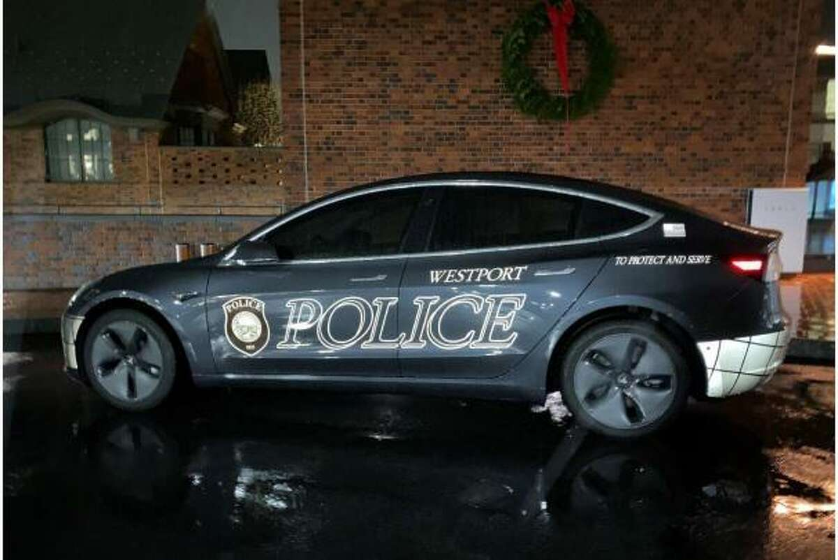 The Tesla Model 3 used by the Westport Police Department.