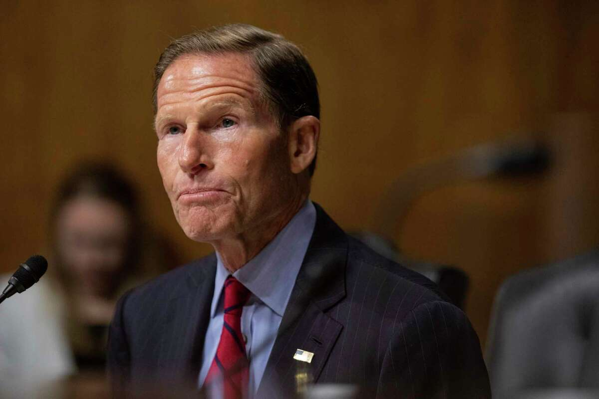 Sen. Richard Blumenthal, D-C.T., speaks to federal judicial nominees during a Senate Judiciary Hearing on Capitol Hill in Washington on Wednesday, July 14, 2021.