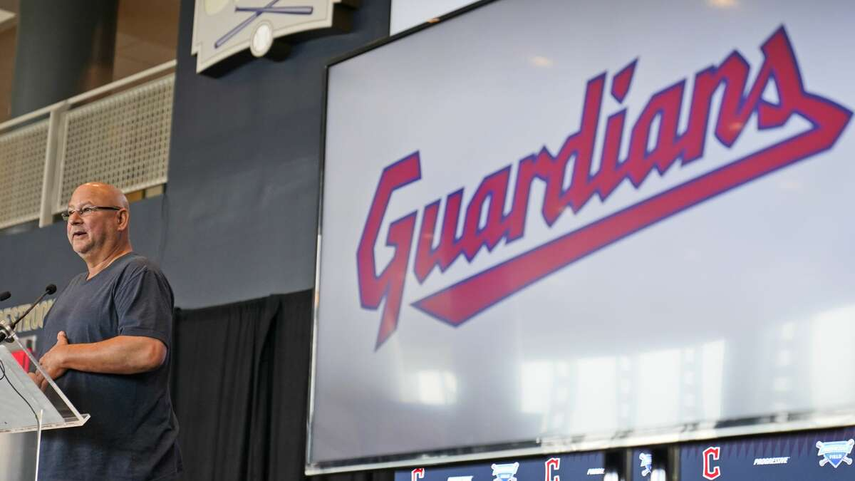 Cleveland Indians manager Terry Francona speaks at a news conference Friday in Cleveland. Known as the Indians since 1915, Cleveland's Major League Baseball team will now be called the Guardians. The ballclub announced the name change Friday, effective at the end of the 2021 season.