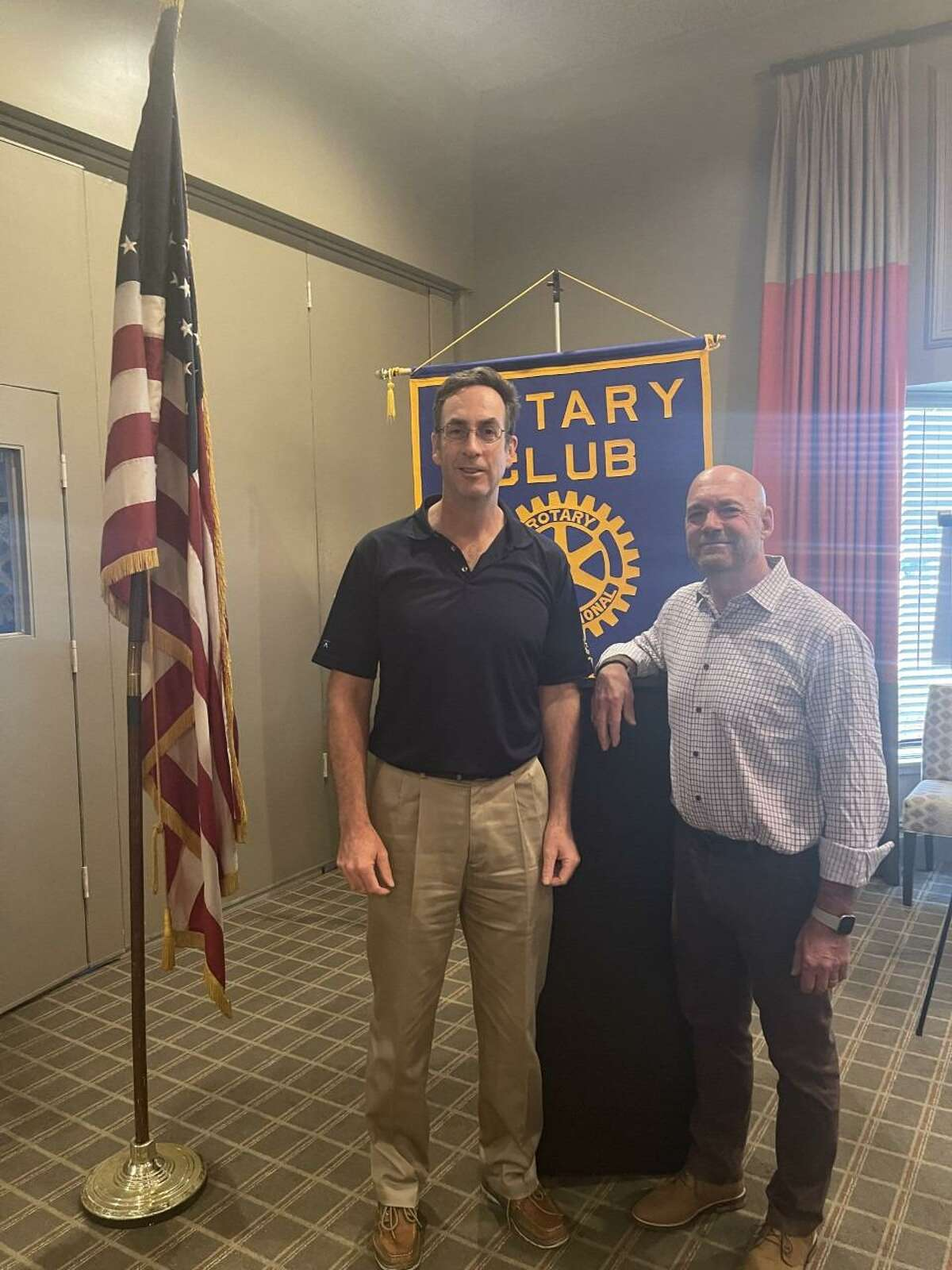 Business Blueprint Company Owner Duane C. Barney recently spoke to the members of the Rotary Club of Danbury at one of their lunch meetings at 12:15 p.m., on Wednesday, July 21, at the Ethan Allen Inn in Danbury, going over elements to succeed in business, stressing the importance of running an organization, and strategies to help keep a business stable as it grows. Pictured to the left of Barney in the photo is: The President of the Rotary Club of Danbury, Frank Scahill. The Rotary Club is looking for people, who would like to give back to their community, and who have two to four hours a month that they can spare. Visit the non profit organization's website at, danburyrotary.org, to learn more. The Inn is located at 21 Lake Avenue Extension in the city.