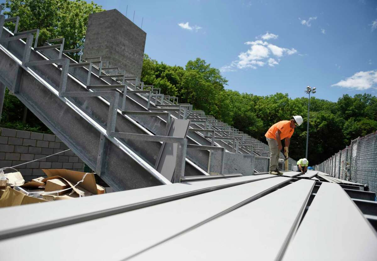 Construction is underway on the bleachers at Greenwich High School's Cardinal Stadium in Greenwich, Conn. Wednesday, June 16, 2021. While the bleachers will not be done in time for next week's graduation, the beginning of the physical construction marks a major milestone in the Cardinal Stadium improvement project.