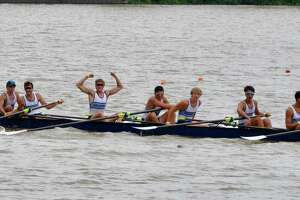 The Greenwich men's U19 8+ boat celebrate after setting the junior national record in 5:44.207 at the USRowing Summer Nationals in New Jersey. Greenwich won the Nationals for the first time in program history.