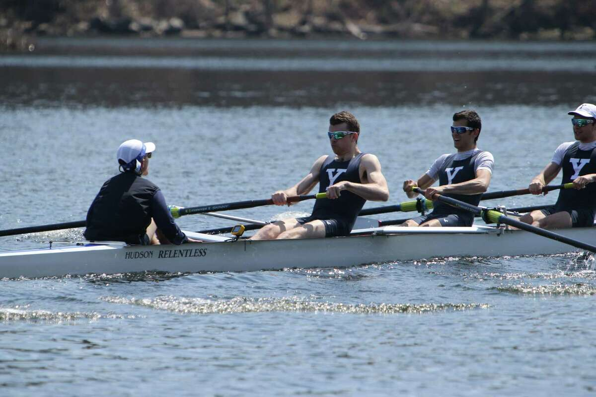 Yale's men's lightweight crew team competing against Harvard and Princeton in 2018. Yale and Harvard competed in the first-ever collegiate athletic event in the 1850s.
