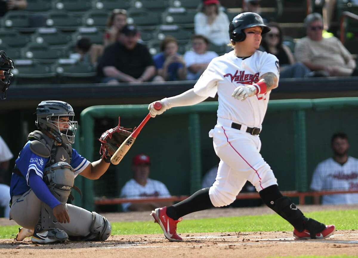 ValleyCats' Daniel Angulo takes a swing during a baseball game against Equipe Quebec at Joseph L. Bruno Stadium on Friday July 23, 2021 in Troy, N.Y. (Lori Van Buren/Times Union)