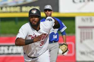 ValleyCats' Juan Silverio runs to third base during a baseball game against Equipe Quebec at Joseph L. Bruno Stadium on Friday July 23, 2021 in Troy, N.Y. (Lori Van Buren/Times Union)