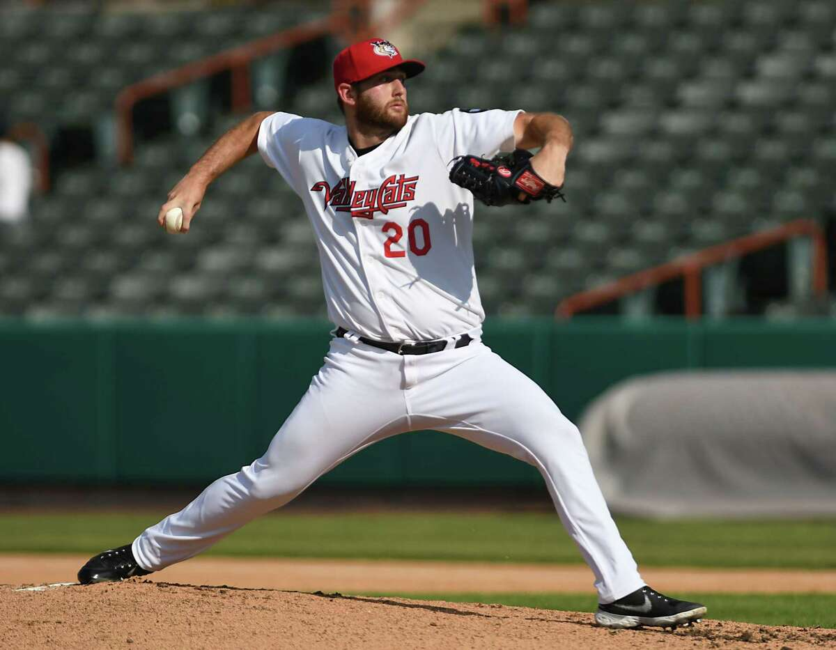 ValleyCats pitcher Parker Kelly throws the ball during a baseball game against Equipe Quebec at Joseph L. Bruno Stadium on Friday July 23, 2021 in Troy, N.Y. (Lori Van Buren/Times Union)