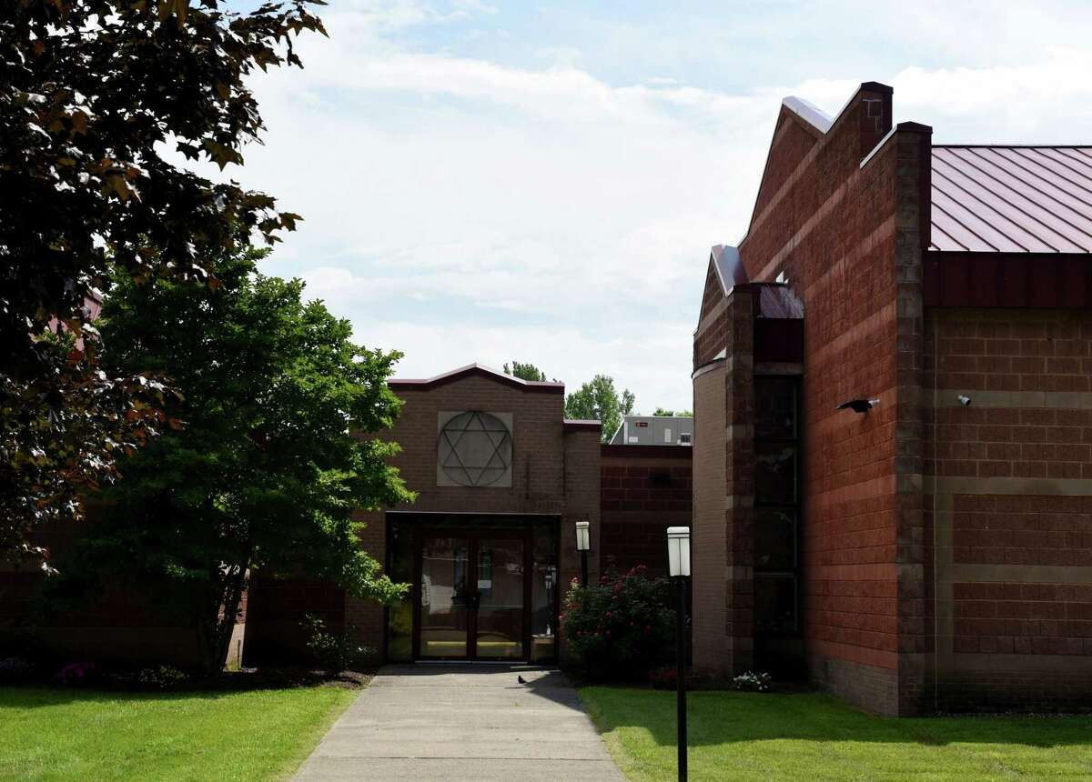 Congregation Beth Abraham-Jacob on Whitehall Road on Friday, July 23, 2021, in Albany, N.Y. The Orthodox congregation is asking for the city Board of Zoning Appeals to allow it to put up an 8-foot fence around its property. Their initial request was rejected in February.