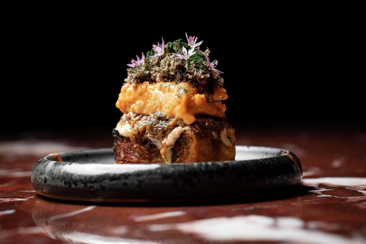 Wagyu beef, local urchin and truffle atop Japanese milk bread at Ittoryu Gozu, in San Francisco.