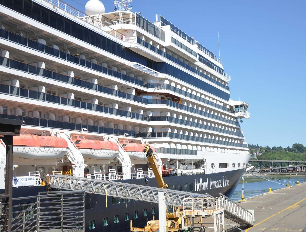 Holland America's Nieuw Amsterdam at the Smith Cove Cruise Terminal in Seattle, Washington