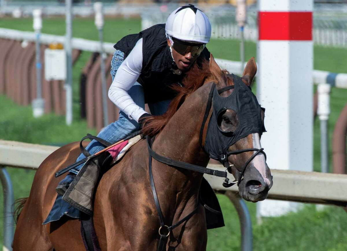 Whitmore, with jockey Ricardo Santana Jr. aboard, puts in a speed work in preparation for the upcoming Vanderbilt Stakes at Saratoga Race Course on Friday, July 23, 2021, in Saratoga Springs, N.Y.