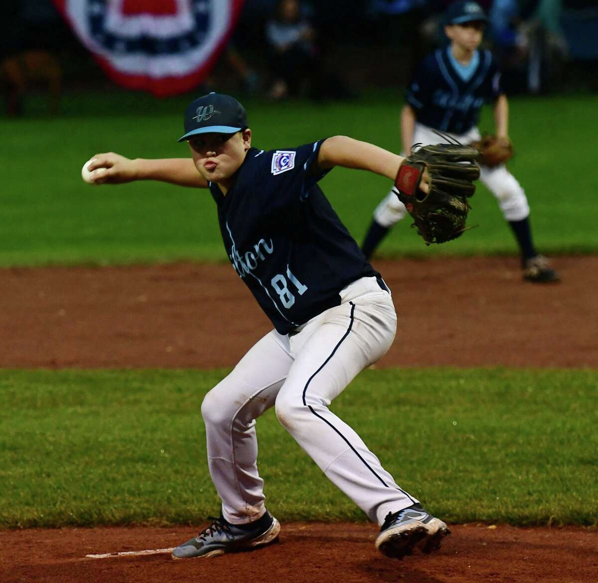 Wilton's Colton Smith throws from the mound as Wilton takes on North Haven in the section 1 Little League baseball final Friday, July 23, 2021, at Springdale Field in Stamford, Conn. Wilton advances to state championship series next week.
